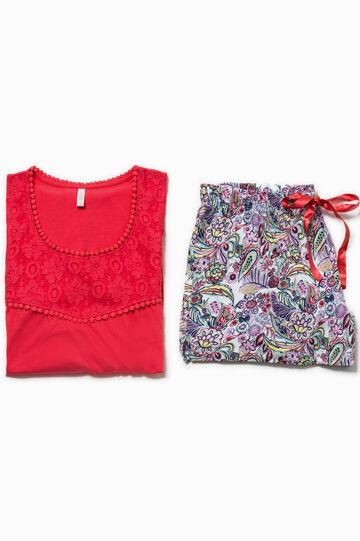 Pijama con estampado y encaje