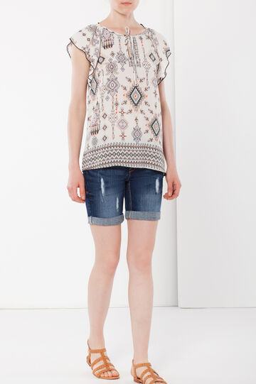Wide-fit blouse with cap sleeves, Light Beige, hi-res