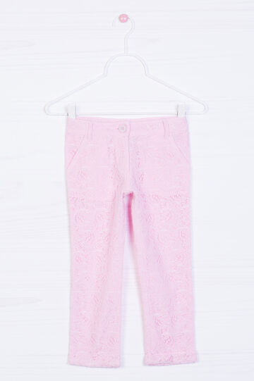Trousers in 100% cotton lace, Pink, hi-res