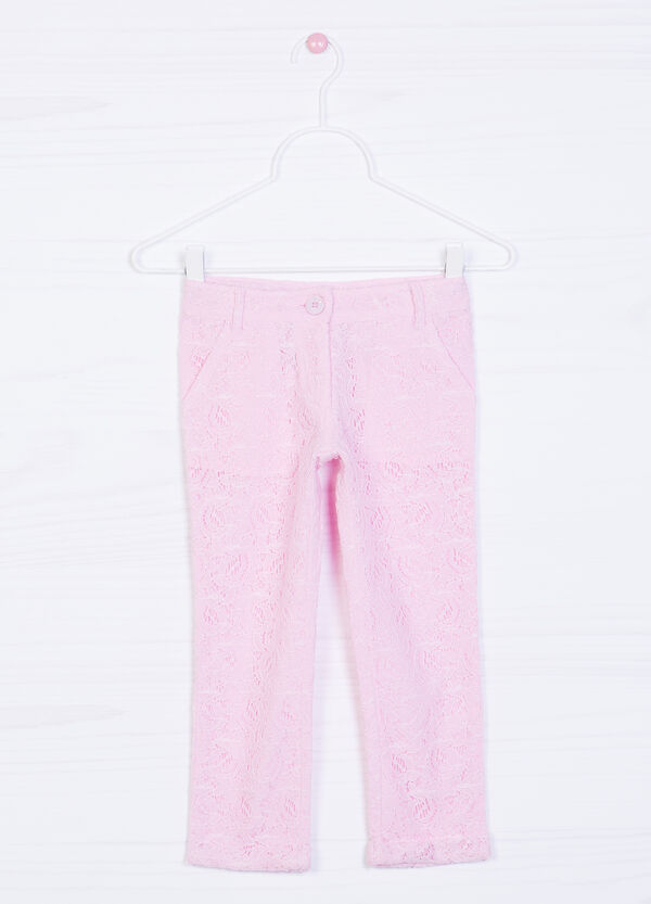 Trousers in 100% cotton lace | OVS