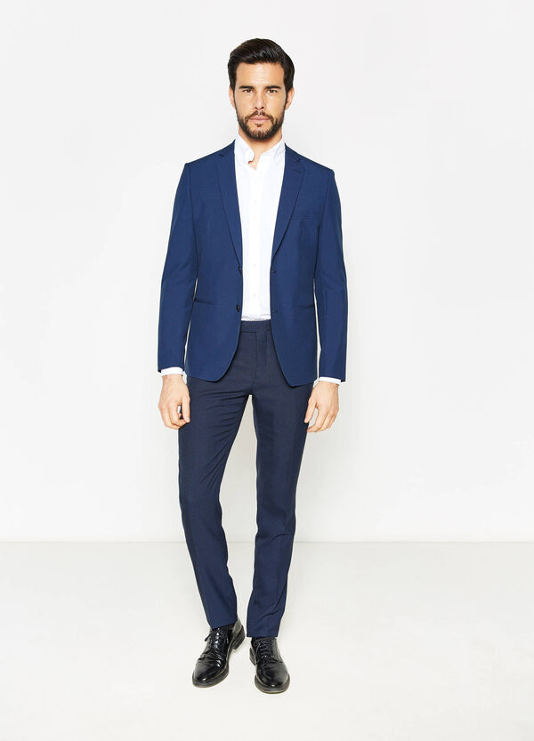 Elegant, slim-fit jacket with micro check pattern | OVS