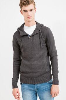Cotton pullover with pouch pocket, Dark Grey, hi-res