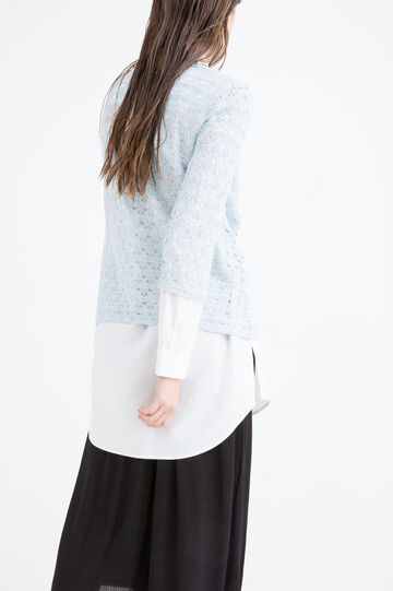 Cotton blend openwork T-shirt, Soft Blue, hi-res