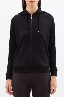 Sports sweatshirt with contrasting stripes, Black, hi-res