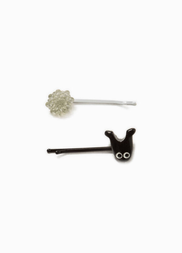 Set of two hairpins with flower and animal | OVS