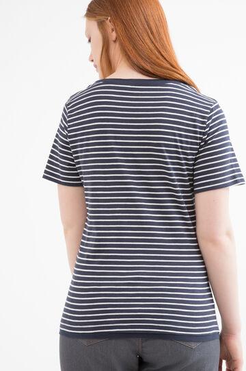 Curvy striped cotton T-shirt, White, hi-res