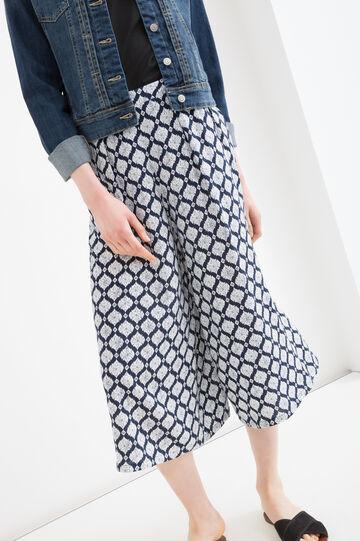 Gaucho pants in 100% viscose, White/Black, hi-res