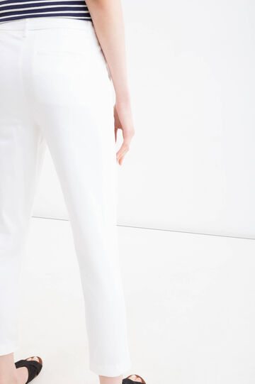 Solid colour stretch cotton trousers, White, hi-res