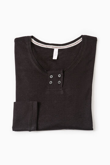 Solid colour cotton pyjama top, Black, hi-res