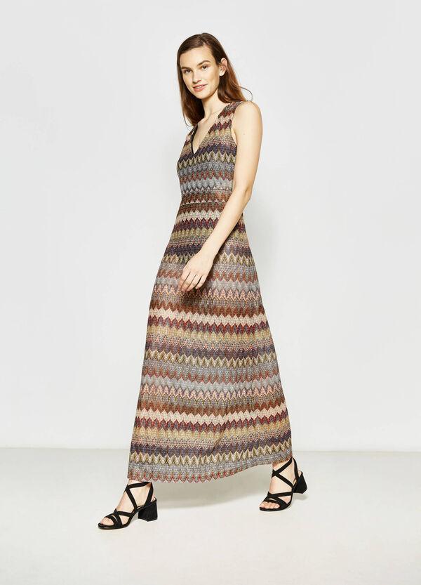 Long patterned sleeveless dress | OVS