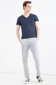 Slim-fit stretch cotton chino trousers, Blue, hi-res