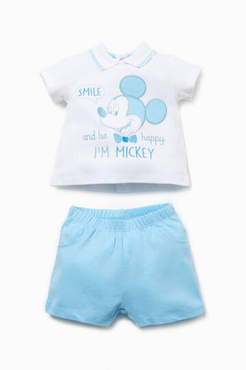 Outfit with embroidery and Mickey Mouse patch