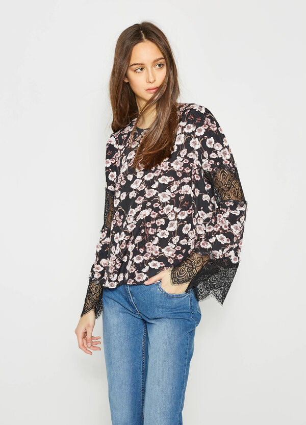 Blouse with floral print and lace | OVS