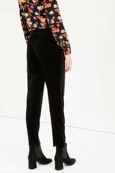 Pantaloni stretch in velluto, Nero, hi-res