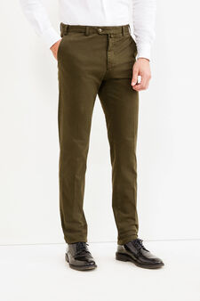 Stretch cotton Rumford trousers with crease, Green, hi-res