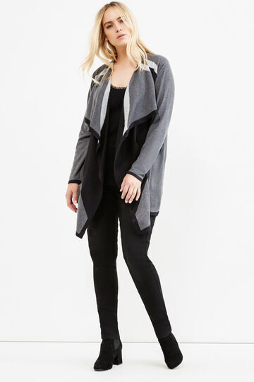 Curvy long cardigan with shawl collar, Grey, hi-res