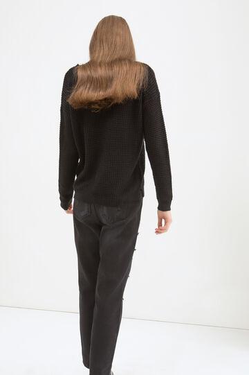 Printed knit pullover, Black, hi-res