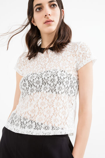 Openwork T-shirt with classic collar., White/Black, hi-res
