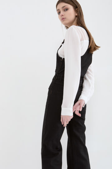 Solid colour stretch dungarees, Black, hi-res