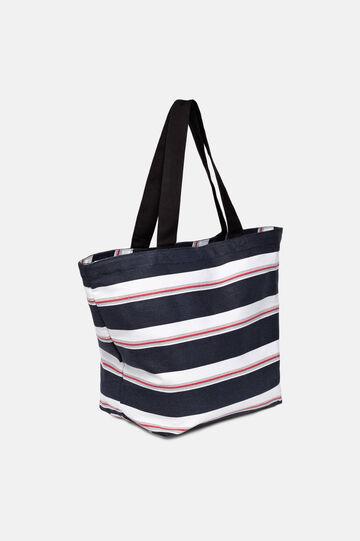 Striped beach bag, White/Blue, hi-res