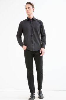 Solid colour slim fit shirt, Black, hi-res