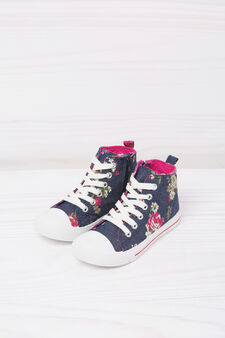 High-top printed sneakers, Denim Blue, hi-res