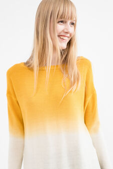 Two-tone knitted pullover with splits, White/Yellow, hi-res