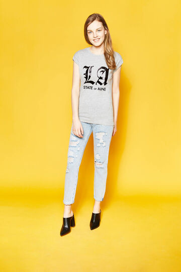 Cotton T-shirt with lettering print