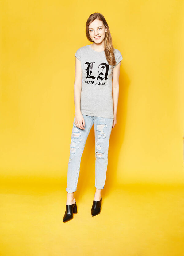 Cotton T-shirt with lettering print | OVS