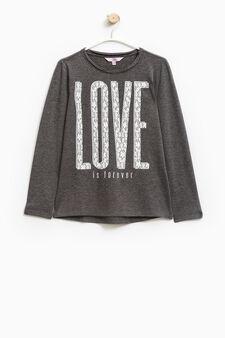Printed cotton stretch T-shirt, Dark Grey, hi-res
