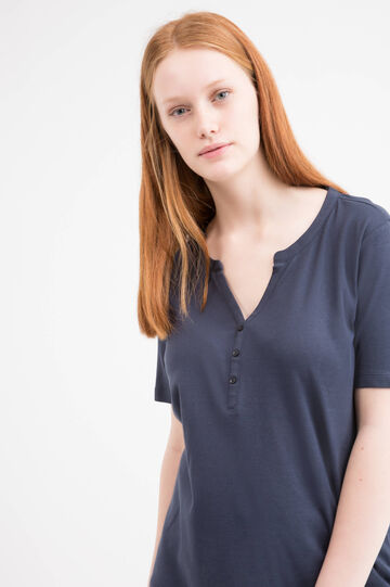Curvy solid colour 100% cotton T-shirt., Blue, hi-res