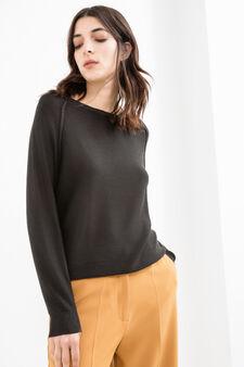 Round neck pullover with raglan sleeves, Black, hi-res