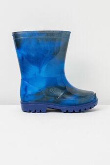Patterned Wellington boots, Navy Blue, hi-res