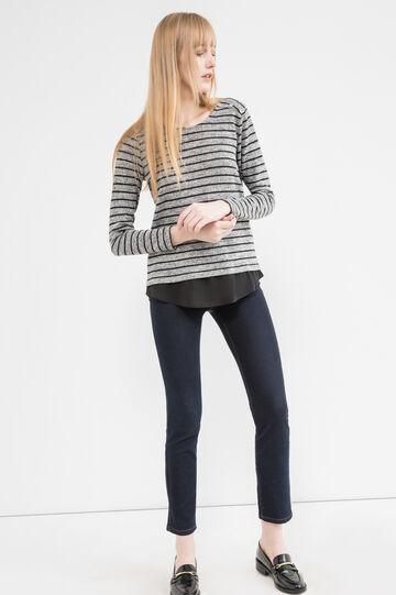 T-shirt in striped viscose-lurex blend, Black/Grey, hi-res