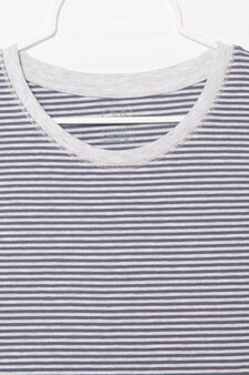 Striped, 100% cotton T-shirt, Grey, hi-res