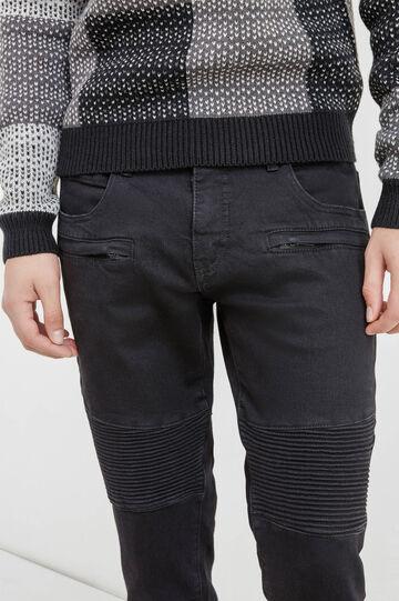 Solid colour, slim-fit stretch jeans, Black, hi-res