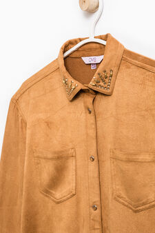 Stretch suede shirt, Camel, hi-res