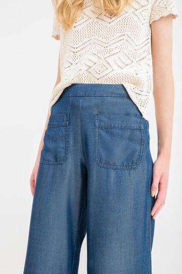 Flare-fit bell-bottom high-waist jeans, Dark Blue, hi-res