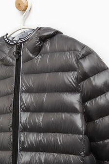 Solid colour real down jacket, Slate Grey, hi-res