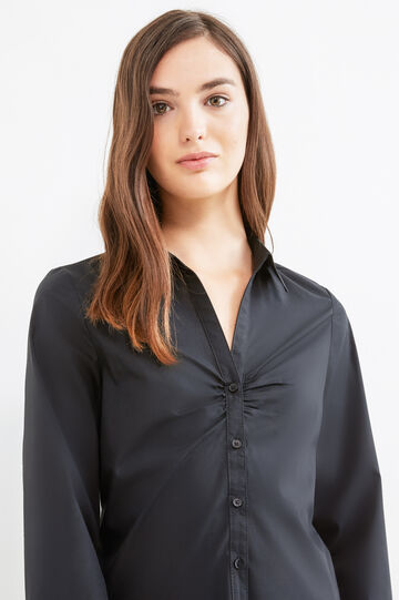 Shirt with pleated motif on chest, Black, hi-res