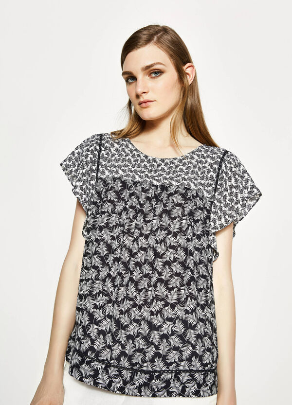 Printed blouse with openwork insert | OVS