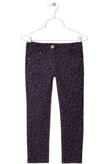 Stretch cotton animal print trousers, Purple, hi-res