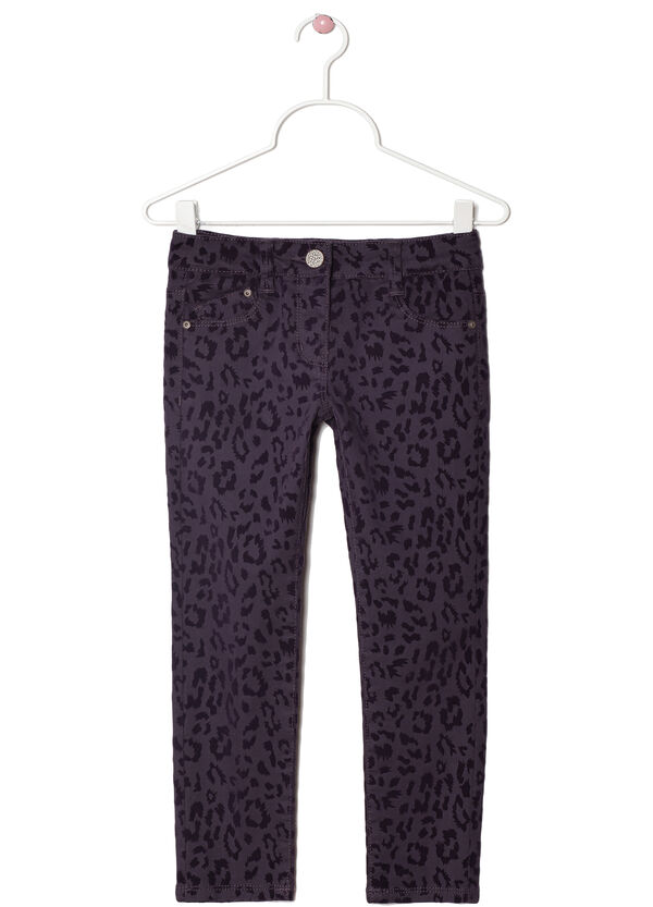 Stretch cotton animal print trousers | OVS