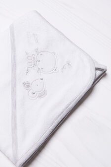 Embroidered cotton robe, White/Grey, hi-res