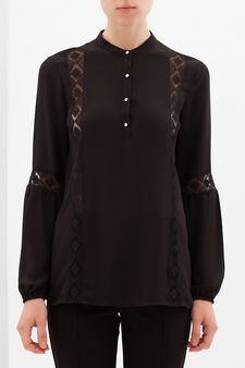 Blouse with embroidered inserts, Black, hi-res