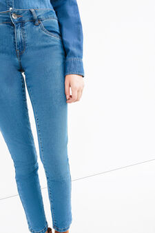 Skinny-fit stretch jeans with zip, Medium Wash, hi-res