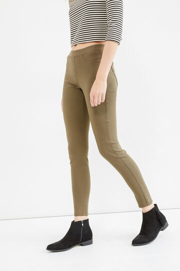 Stretch rayon jeggings, Army Green, hi-res