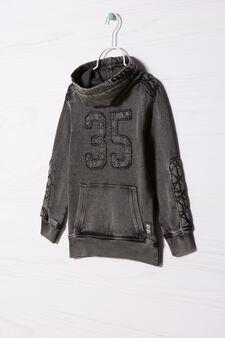 Cotton sweatshirt with high neck., Slate Grey, hi-res