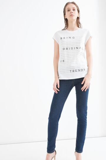 Cotton T-shirt with printed lettering, White/Grey, hi-res