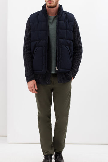 Sleeveless puffa jacket with insert, Navy Blue, hi-res